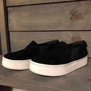 Vince. Platform sneakers shoes black suede size 8